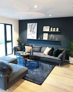 elegant living room design decorating ideas 13 ~ my.me elegant living room design decorating ideas 13 ~ my.me Source by essi_stamm Navy Blue And Grey Living Room, Navy Living Rooms, Simple Living Room Decor, Accent Walls In Living Room, Elegant Living Room, Living Room Ideas Grey And Blue, Dark Grey Walls Living Room, Modern Living Room Colors, Living Room Paint