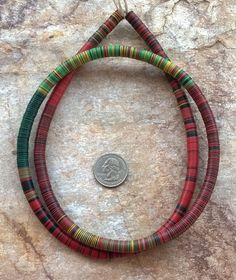 """8 mm Vintage Mixed Colour African Vinyl Disc Beads,African Vinyl,Vulcanite Beads,33.5""""(85 cm)Record Beads,African Beads,Mali Vinyl(029) by RedEarthBeads on Etsy"""