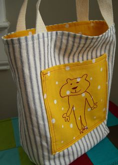 tote with child's artwork