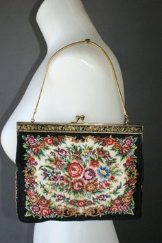 295ded7d00 ART DECO VICTORIAN Vintage Floral Needlepoint Clutch Handbag Purse