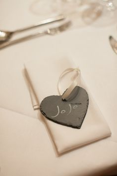 Hampshire Slate Handmade Slate Heart Decoration Wedding Favour #weddingfavour #placesetting
