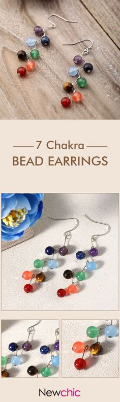[Newchic Online Shopping] 50%OFF Women's Trendy Dangle Earrings with 7 Rainbow Stones