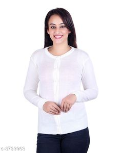 Checkout this latest Sweaters Product Name: *Ogarti woollen full sleeve round neck White Women's  Cardigan* Fabric: Acrylic Sleeve Length: Long Sleeves Pattern: Solid Multipack: 1 Sizes:  M, L (Bust Size: 18 in, Length Size: 23 in, Waist Size: 17 in, Hip Size: 18 in, Shoulder Size: 13 in)  Country of Origin: India Easy Returns Available In Case Of Any Issue   Catalog Rating: ★4 (212)  Catalog Name: Pretty Sensational Women Sweaters CatalogID_1504137 C79-SC1026 Code: 944-8793963-9911