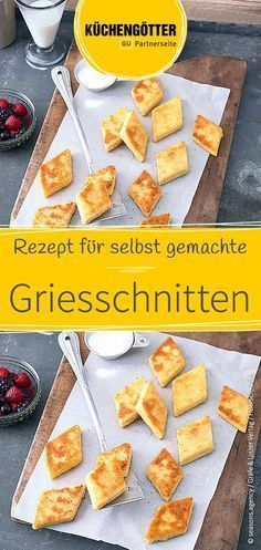 Grießschnitten Semolina porridge with a difference: recipe for homemade semolina cuts. Dessert Simple, Dessert Party, Fun Holiday Desserts, Tapas, Brunch, Healthy Dessert Recipes, Nutella, Semolina Pudding, Goodies