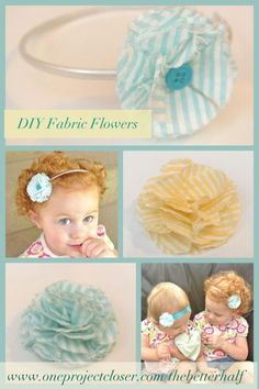 DIY Fabric Flowers – many different kinds! great for headbands or to apply to dresses or stuff