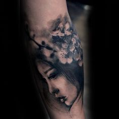 ... Portrait Realistic Shaded Cherry Blossom Tree Mens Forearm Tattoo