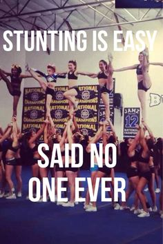 cheerleading stunting No Flyer has ever said that Cheerleading Workouts, Cheer Workouts, Cheerleading Hair, Funny Cheerleading Quotes, Easy Cheer Stunts, Funny Cheerleader, Competitive Cheerleading, Male Cheerleaders, Cheerleading Cheers