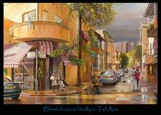 blissful rain is finally in tel aviv painting by alex levin alex google tel