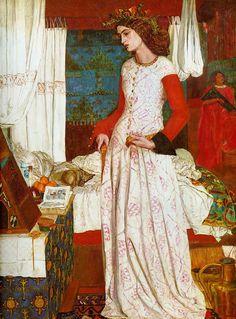 """11º Modernismo. La bella Isolda 1858, conocida como """"La reina Ginebra"""", es la única pintura al óleo conservada de William Morris. Es el arte por el arte, crear belleza sin otra intención, se opone al realismo, se huye de lo cotidiano y lo común."""