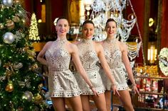 Rockettes dancing together in the Radio City Musin Hall.