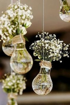 Wedding Flowers 65897 budget rustic wedding decorations flowers gypsophila in vases similar to light bulbs suspended on a rope colin cowie weddings Fall Wedding, Wedding Ceremony, Dream Wedding, Wedding Ideas, Gown Wedding, Wedding Cakes, Wedding Rings, Wedding Dresses, Trendy Wedding
