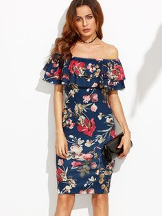 Shein Flounce Layered Neckline Flower Print Dress