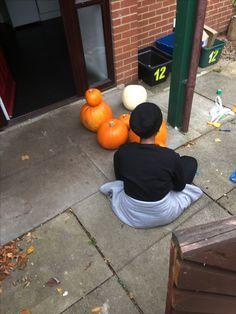Parris carving one of nine pumpkins. Mid October 2017.