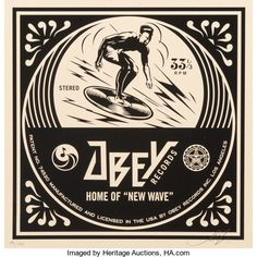 Post-War & Contemporary:Contemporary, Shepard Fairey (b. New Wave Surfer Album Cover, fromDance Floor Riot, Screenprint. 12 x 12 inches Shepard Fairey Obey, Surf Art, Surf Style, Cover Art, Album Covers, Screen Printing, Artsy, Waves, Fine Art