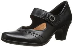Rockport Cobb Hill Women's Salma-Ch Dress Pump, Black, 8 M US... Adjustable hook-and-loop closure for easy on and off. Leather and textile lining creates great in-shoe feel. Removable EVA footbed for all-day comfort. Stability shank embedded into midsole supports the arch and helps create a smoother gait. TR outsole provides fantastic traction control.......http://bit.ly/2r3kugZ