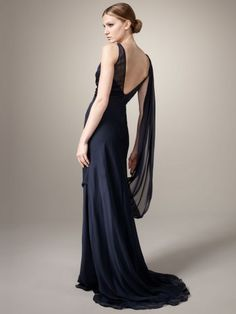 2012 Style Sheath / Column Bateau   Ruffles  Sleeveless Floor-length Chiffon Dark Navy Prom Dress / Evening Dress