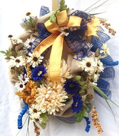 Fall floral burlap wreath, Burlap chrysanthemum wreath, Navy ivory wreath, gold navy wreath, fall door wreath, fall decor, navy gold ivory by WreathsAndTrends on Etsy