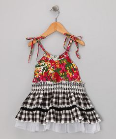 Take a look at this Black & Red Floral Gingham Dress - Toddler & Girls by Mish Mish on #zulily today!