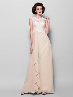 Sheath/Column Plus Sizes / Petite Mother of the Bride Dress - Champagne Floor-length Sleeveless Chiffon / Lace - USD $109.99