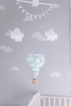 Hot Air Balloon Decor, Nursery Decor, Travel Theme Nursery Idea, Aqua and Grey Baby Mobile, i46 by sunshineandvodka on Etsy https://www.etsy.com/listing/208134056/hot-air-balloon-decor-nursery-decor