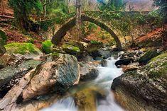 'The old stone bridge of Tsagarada' by Hercules Milas Love Bridge, Old Stone, Hercules, Travel Mug, Slow Shutter, Shutter Speed, Natural Beauty, Greece, Waterfall