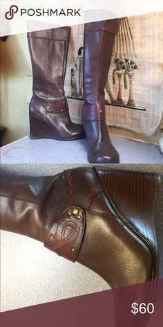 Charles David wedge boots Never been worn, beautiful brown wedges heel boots by Charles David Charles David Shoes Wedges