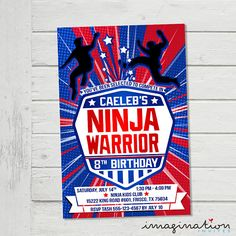 American Ninja Warrior Invitation ANW Birthday Party Invite
