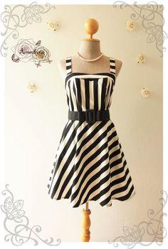 BEACH PARTY DRESS  Black and white stripe sundress by Amordress, $45.00
