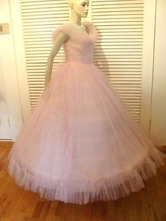 Pink Tulle Prom 50s Prom Dresses, Tulle Prom Dress, Formal Dresses, Pink Tulle, Ball Gowns, Vintage Outfits, Dressing, Cotton Candy, Addiction