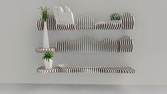 Estantería Köllen. Compuesta por piezas con movimiento independiente que se adaptan a los objetos que sostienen.