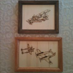 Coming soon to generationwoodworks.com! Wood burned airplane etchings.