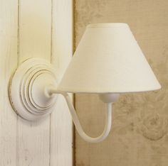 Lovely French style design wall light fitting complete with simple white shade. Finished in white with lovely simple circular graduated detailing to the base. Wires into the wall and mounted on two key hole fittings. | eBay!
