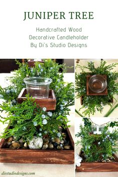 Juniper Tree Decorative Candleholder by Di's Studio Designs! This handcrafted tree themed wood candleholder is available at disstudiodesigns.com. #springdecor #eventdecor #homeaccents #natureinspireddesign #interiordesign #tablecenterpiece #fauxflorals #smallbusiness #shopsmall #supporthandmade Summer Table Decorations, Juniper Tree, Wood Centerpieces, Candle Holder Decor, Candles And Candleholders, Shopping Mall, Event Decor, Decorative Items, Boutique