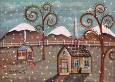 Mountain Storm ORIGINAL Canvas Panel PAINTING FOLK ART 5 x 7 Cabins Cat Karla G #FolkArtAbstractPrimitive