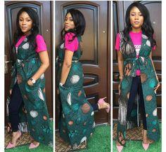 Trend Alert: Ankara Kimono Styles To See. - Ankara collections brings the latest high street fashion online African Fashion Ankara, African Inspired Fashion, African Attire, African Dress, Kimono Fashion, Fashion Pants, African Tops, African Style, African Beauty