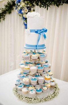 Blue and white wedding cupcake tower