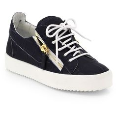 Giuseppe Zanotti Croc-Printed Lace-Up Zip Sneakers (€300) ❤ liked on Polyvore featuring shoes, sneakers, crocodile leather shoes, navy blue shoes, crocs sneakers, zip sneakers and lace up shoes