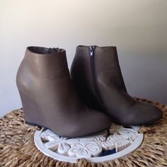 """Selling this """"Mod wedge heel bootie boot 7"""" in my Poshmark closet! My username is: thattlindsay. #shopmycloset #poshmark #fashion #shopping #style #forsale #Forever 21 #Boots"""