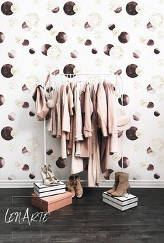 Modern Geometric wallpaper - Gold and brown wheels - Easy stick wallpaper - Removable wallpaper - Self adhesive - Pattern Wallpaper - 15