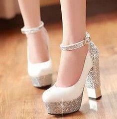 2015 Women Red Sole Ankle Strap High heels Sequins Thick Heel Platform Pumps  Women Wedding Shoes Plus Size White Silver Gold Red 7be5fbfa94a6