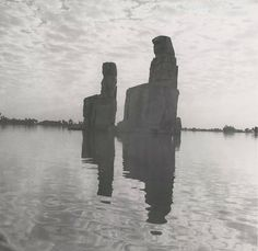 The Colossi of Memnon during Nile flooding