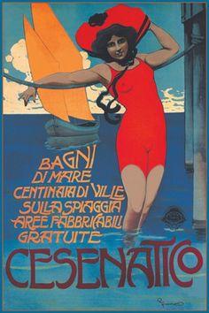 Cesenatico - Riviera Adriatica, Italy Vintage travel poster advertising the beach of Cesenatico. #spiaggia #deco #affiche #retro #essenzadiriviera.com