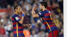 FC Barcelona - Rayo Vallecano. Barça colours, players Ney and Suárez.. | FC Barcelona