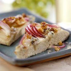 Gorgonzola & Pear Focaccia: Red onion, fresh pear, and Gorgonzola ...