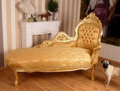 Königliches Prunksofa Chaiselongue goldener Bezug 349,00