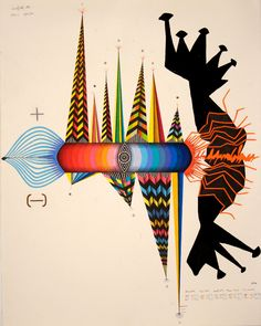 """""""Weather Rocket"""" by John Jerome O'Connor, Sumi ink, colored pencil, and graphite on paper."""