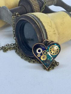 Timeless small blue steampunk heart pendant
