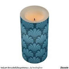 teal,art deco,shell,fan,pattern,chic,elegant,vinta flameless candle