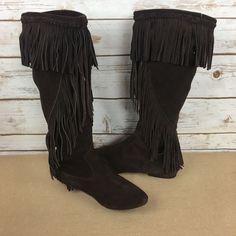 94718b5bb4e9 Sam Edelman Utah Size 9 M Brown Suede Fringe Flats Pull On Boots
