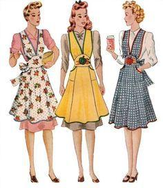 Free Full Apron Patterns | Vintage Full Apron 40's PDF Pattern No 4